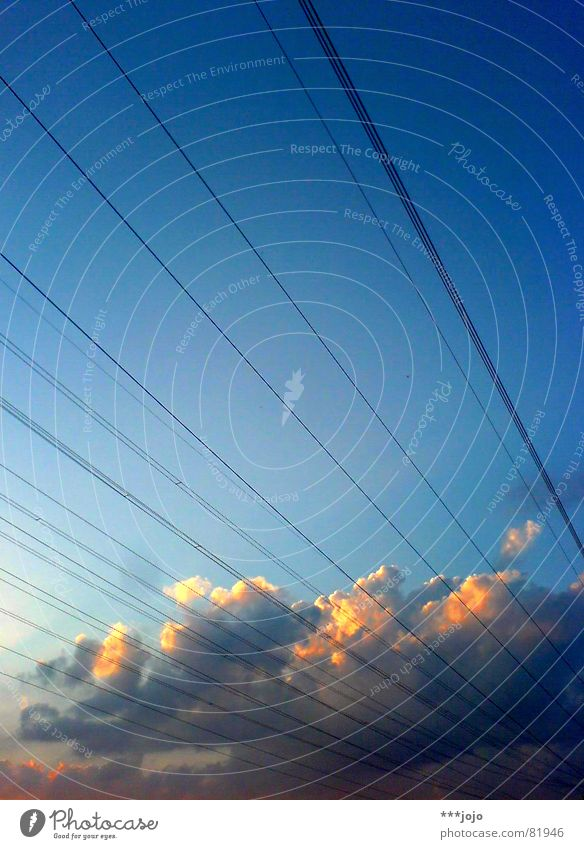 Sky Blue Clouds Orange Gold Energy industry Electricity Network Cable Stripe Exceptional Illuminate Wire Transmission lines