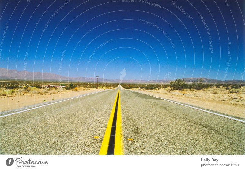 Sky Blue Summer Far-off places Street Lanes & trails Free Horizon Transport Empty Perspective USA Desert Asphalt Hot Infinity