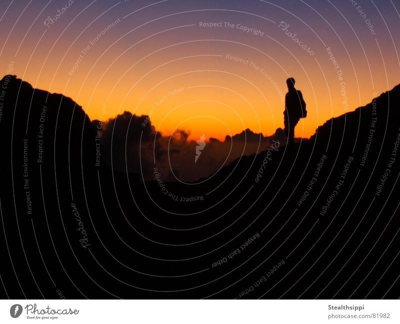 skywalker Multicoloured Dark Hiking Man Tasty Dim Sunrise Clouds Morning Loneliness Harmonious Calm Peace Sunbeam Background picture Exterior shot Sky Africa