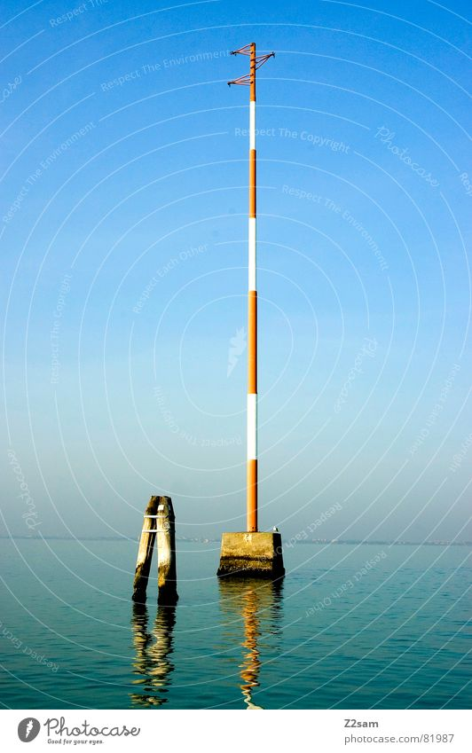 Street 69 Transport Italy Venice Watercraft Driving Red Yellow Bird Stand Left Ocean Waterway Mixture Blue Pole Electricity pylon Signal Sit judging tower