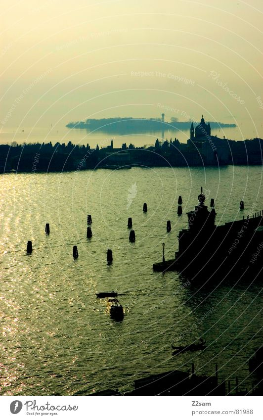 Water Sun Ocean Green Blue City Above Building Island Church Tower Italy Jetty Venice Drop anchor Promontory