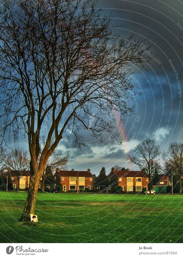 rainbow Enschede Tree Storm Rainbow Red Green Yellow Meadow Beautiful Natural phenomenon House (Residential Structure) Park Moody Dark Clouds RGB amelie Colour
