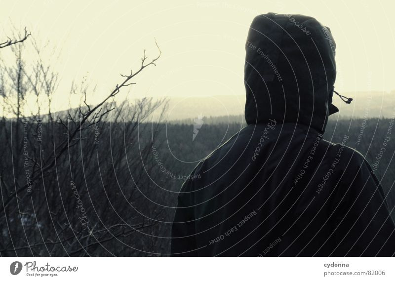 Far away Man Concealed Tree Absentminded Dreamily Loneliness Shadow Threat Dark Eerie Creepy Jacket Highlands Silhouette Gloomy Weather Far-off places