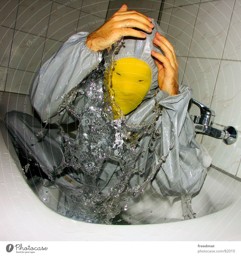 Water Red Joy Yellow Gray Art Funny Crazy Bathroom Mask Tile Square Fluid Suit Shower (Installation) Damp