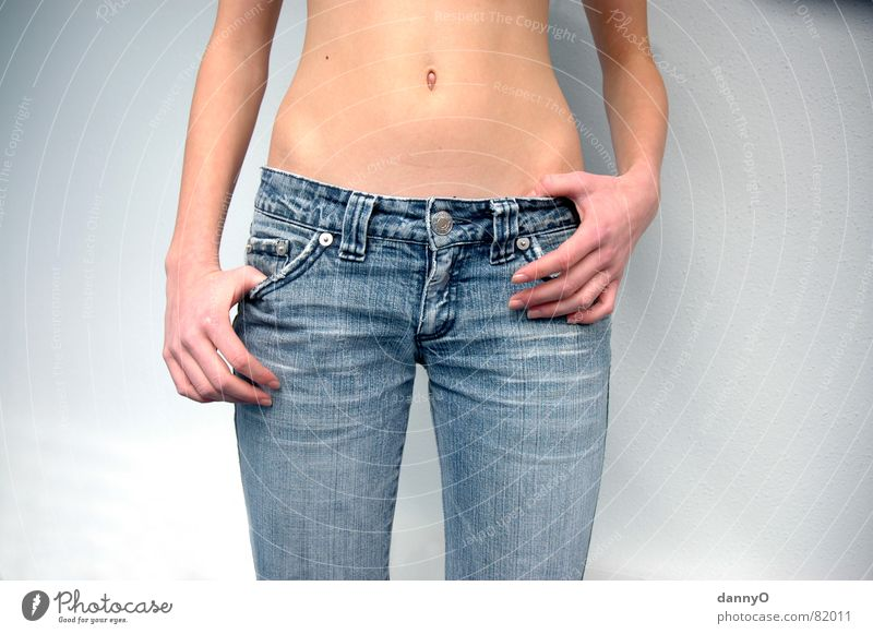 jeans beauty Pants Hand Navel Brown Fingers Beautiful Arm Stomach Blue Eroticism Body Jeans