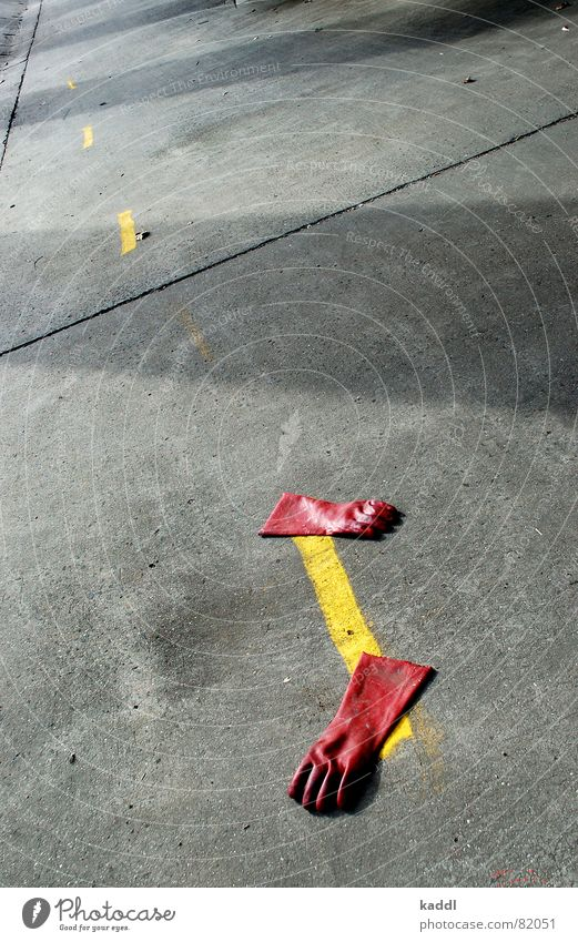 Red Yellow Colour Line Floor covering Obscure Gloves