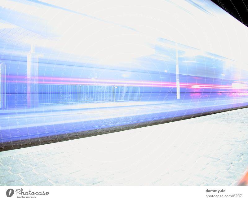 Sche*** missed a lane Tram Würzburg Flashy Long exposure Railroad hypocritical court Station Colour