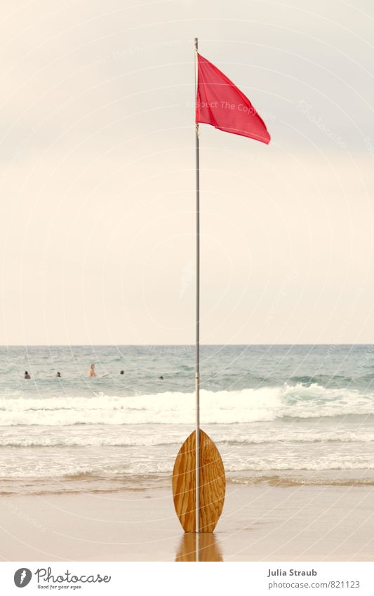 Red Flag Aquatics skiboard Sand Water Sky Summer Waves Coast Beach Ocean Stand Flagpole Surfing Swimming & Bathing Bans Colour photo Exterior shot Day