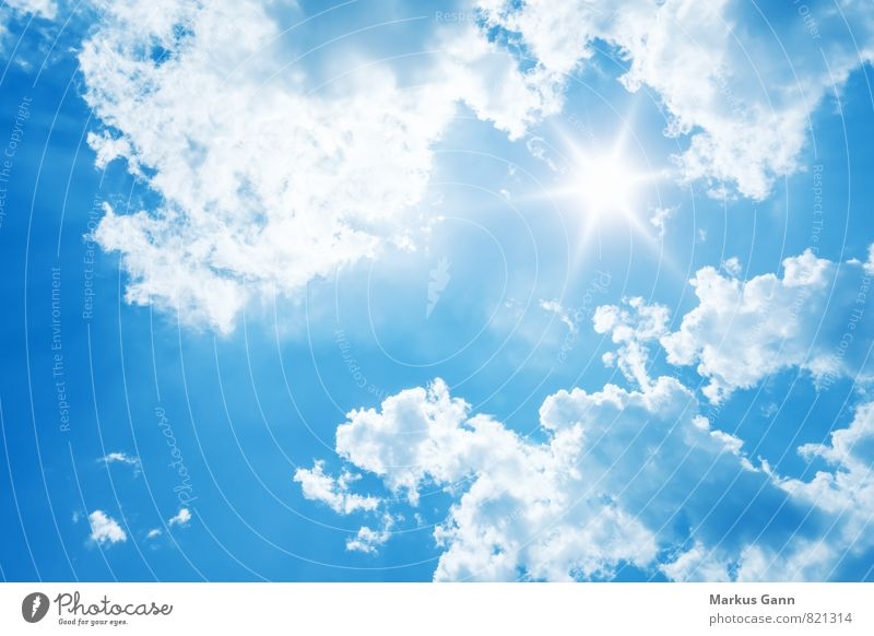 Bright sunshine Nature Air Sky Sky only Clouds Sun Summer Weather Beautiful weather Emotions Optimism Background picture Blue Sunbeam Brilliant Considerable