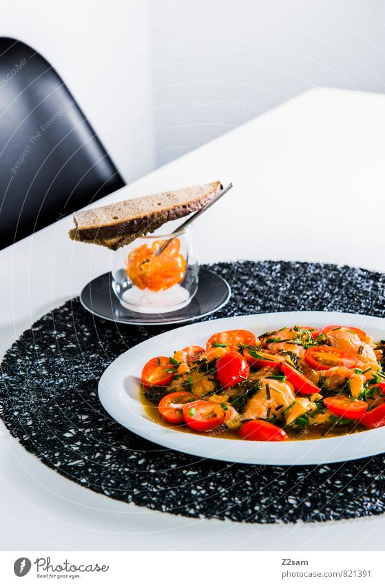 Salmon modesty Food Bread Tomato Tomato salad Herbs and spices Chili Asian Food Plate Esthetic Simple Elegant Exotic Fresh Healthy Hip & trendy Cold Modern Red