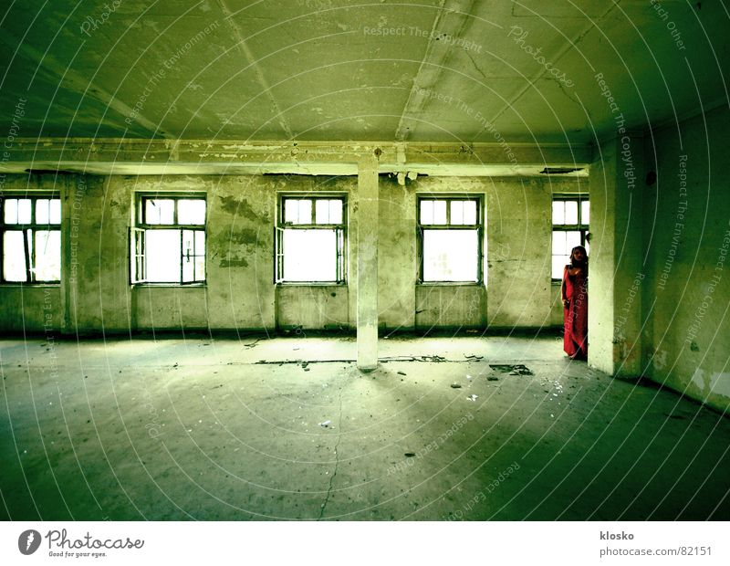 Woman Beautiful Old Red House (Residential Structure) Wall (building) Window Building Room Broken Putrefy Transience Ruin Warehouse Column