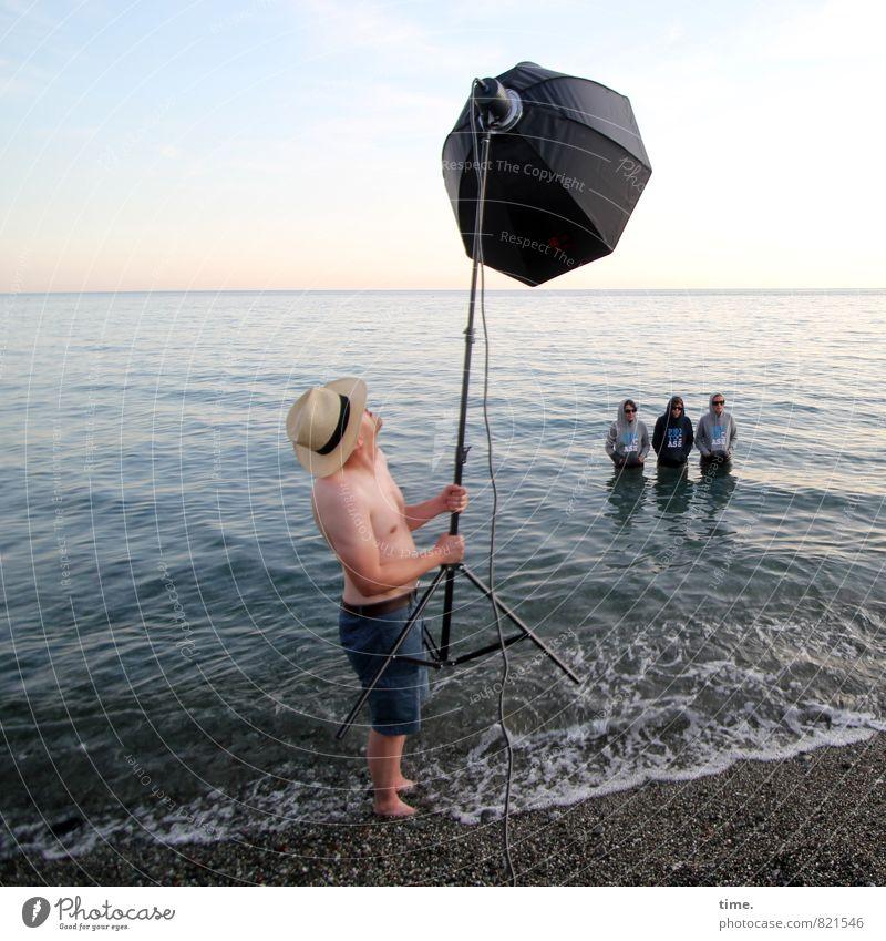 Human being Sky Water Ocean Beach Coast Art Horizon Arrangement Waves Stand Technology Adventure To hold on Attachment T-shirt