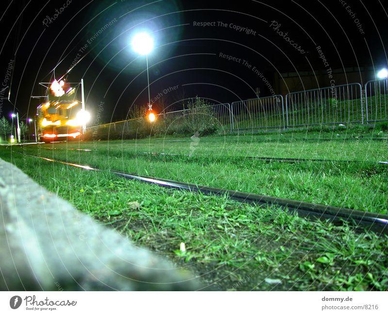 maintenance work Carriage Railroad tracks Grass Light Night Dark Tram Long exposure straba