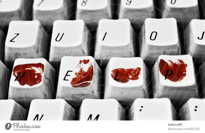Old White Red Black Work and employment Dark Sadness Business Computer Information Technology Fingers Letters (alphabet) Grief Sign Creepy Scream