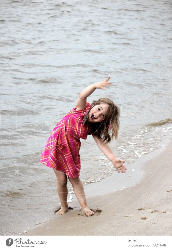 Lina makes the wave Fitness Sports Training girl 1 Human being 3 - 8 years Child Infancy Environment Sand Water Waves Coast River bank Beach Dress Barefoot