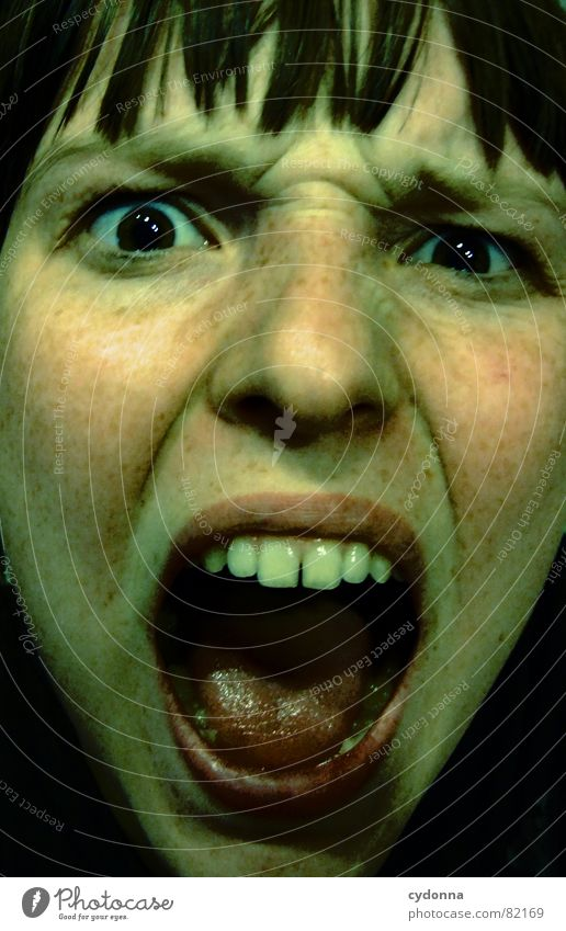 Scream in the night Portrait photograph Woman Face Appearance Lips Haircut Release Self portrait Emotions Looking Shoulder Dark Night Panic Fear Dangerous
