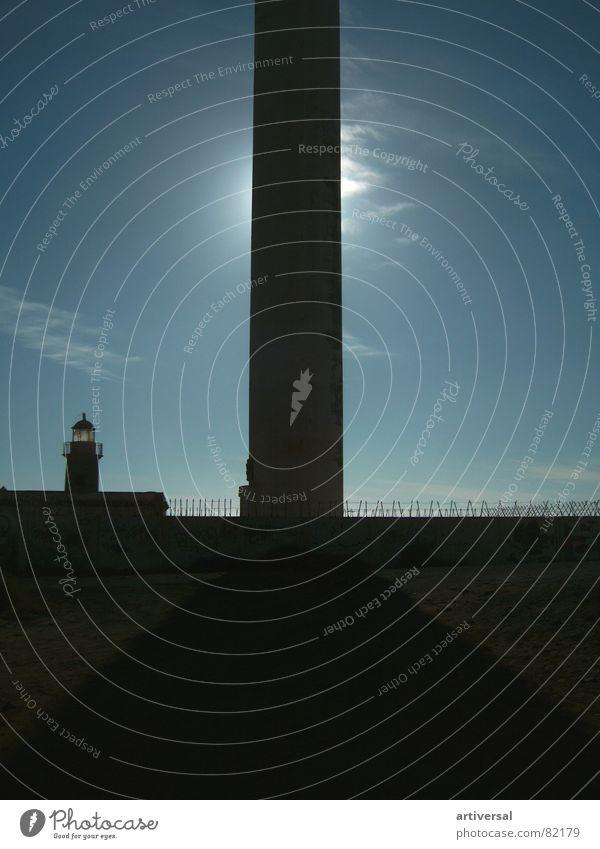 Lighthouse Lanzarote Ocean Harbour Phallic symbol Tower Shadow Sun Sky