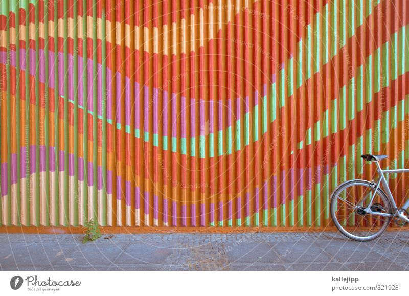 ecstasy rider Cycling Bicycle Multicoloured Line Parking area Curve Colour photo Exterior shot Deserted Light Shadow Contrast