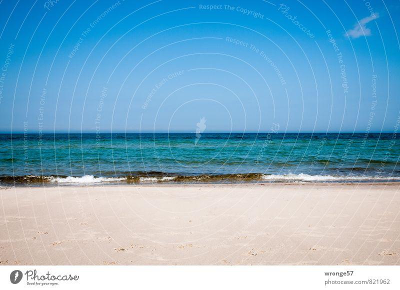 Sky Nature Blue Water Summer Ocean Clouds Beach Far-off places Coast Sand Horizon Waves Beautiful weather Baltic Sea Rügen
