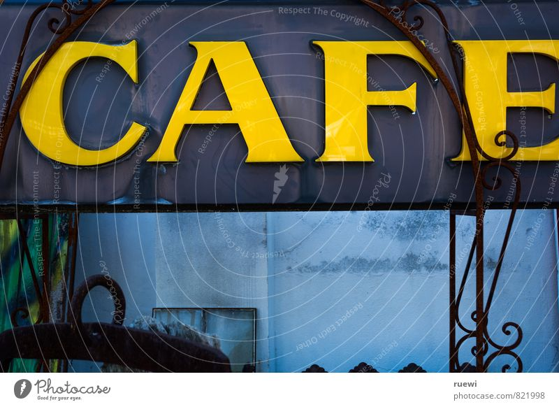 Blue Old City Yellow Eating Food Metal Leisure and hobbies Signs and labeling Decoration Characters To enjoy Beverage Sign Drinking Coffee