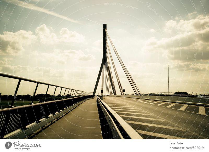 bridge Wesel Bridge Manmade structures Architecture Tourist Attraction Lower Rhine bridge Traffic infrastructure Road traffic Street Federal highway
