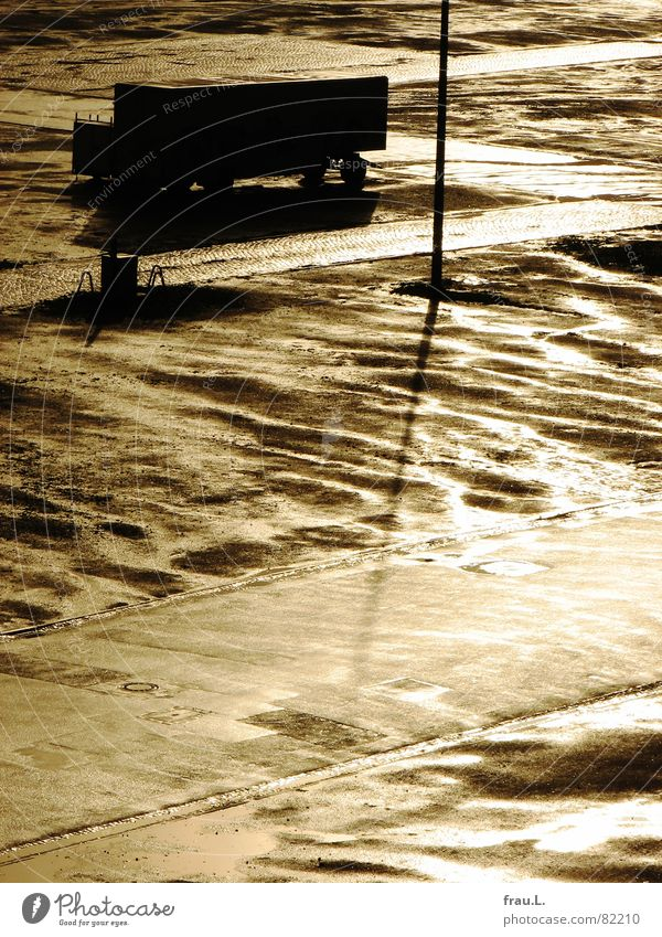 After the rain Truck Lamp post Places Sunlight Wet Back-light Parking Distributor Traffic infrastructure Celestial bodies and the universe Transport