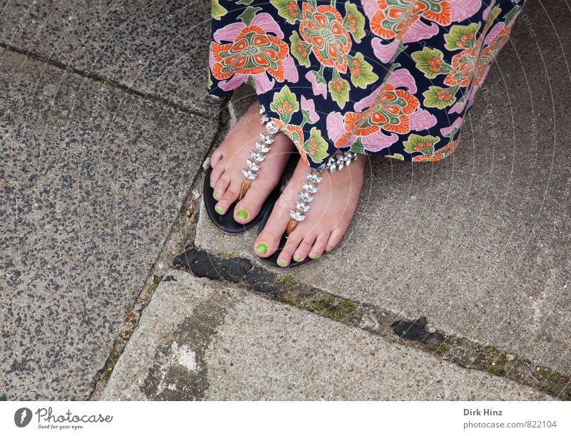 Human being Woman Youth (Young adults) Beautiful Green Summer Young woman Loneliness 18 - 30 years Adults Feminine Style Gray Feet Pink Stand