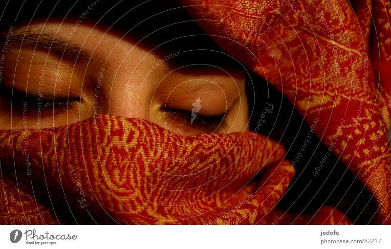 Woman Red Black Face Eyes Yellow Feminine Dark Bright Closed Skin Nose Sleep Hope Desire Wrinkles