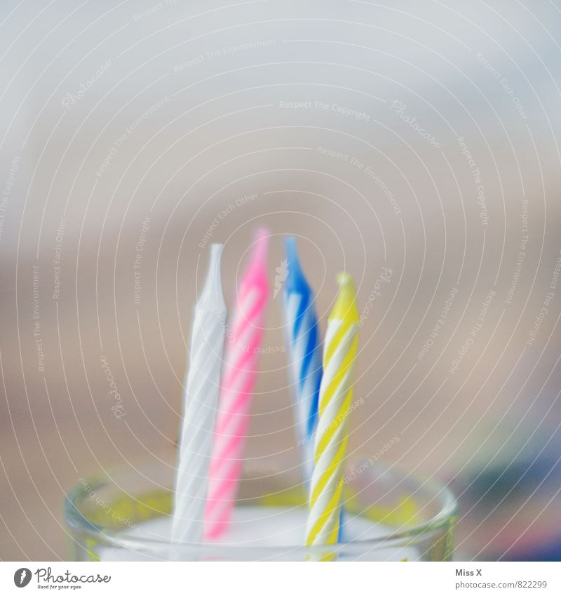 Happy Birthday Food Cake Nutrition Multicoloured Infancy Feasts & Celebrations Birthday cake Candle Glass candle holder 4 Colour photo Close-up Detail Deserted