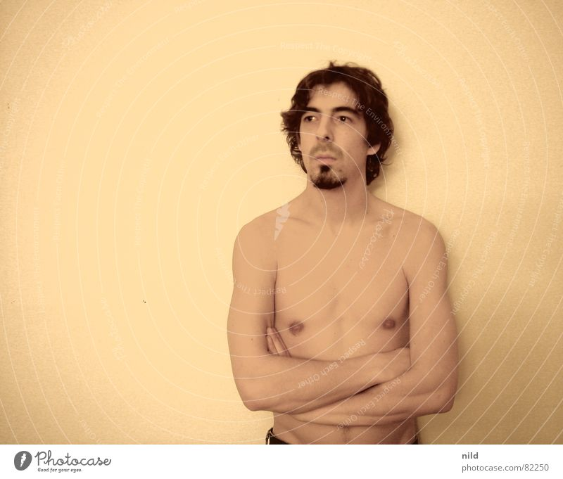Portrait photograph Man Facial hair Upper body Boredom Intoxication Nude photography Long-haired Partially visible Sepia Punk rock Absentminded Unshaven