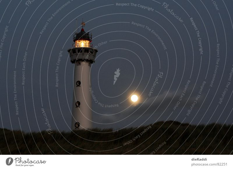 Light the fires... Lighthouse Full  moon Beach Night Dark Netherlands Beacon Coast Orientation Navigation Safety Trust Conduct Egmond aan Zee Lamp Moon