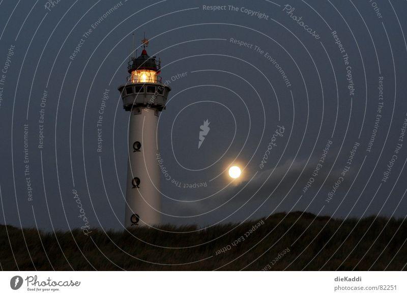 Light the fires... Lighthouse Full  moon Beach Night Dark Netherlands Beacon Coast Orientation Navigation Safety Trust Conduct Egmond aan Zee Lamp Moon