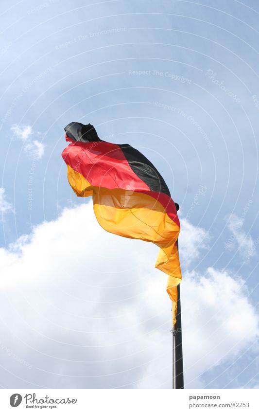 National symbol Colour photo Exterior shot Detail Day Air Sky Wind Reichstag Traffic infrastructure Stripe Flag Original Wild Gold Red Black Enthusiasm Might