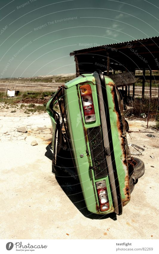 wreck Total loss Flip over Broken Green Bilious green Poison Summer Transience Crate Car left Opel wreckage rotted fading Destruction Parking Ascona across