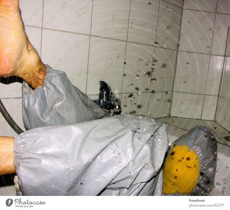 Water Red Joy Yellow Gray Art Funny Crazy Mask Tile Fluid Suit Shower (Installation) Damp Stupid Bathtub