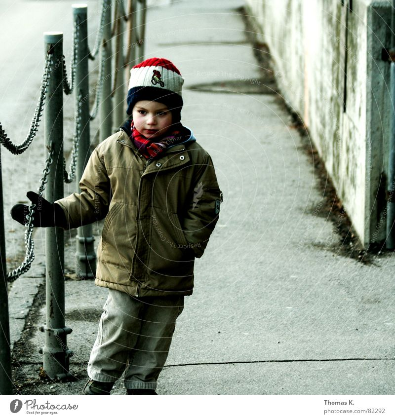 Child Loneliness Boy (child) Autumn Sadness Lanes & trails Gloomy Jacket Cap Boredom Toddler Chain Handrail Gloves Headwear Junior