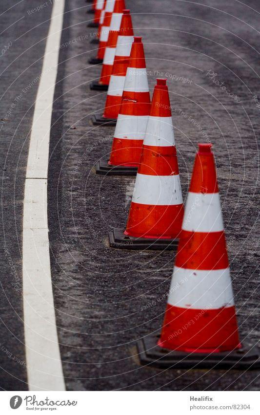 White Red Black Street Dark Rain Line Wet Signs and labeling Transport Dangerous Safety Stripe Break Change Asphalt