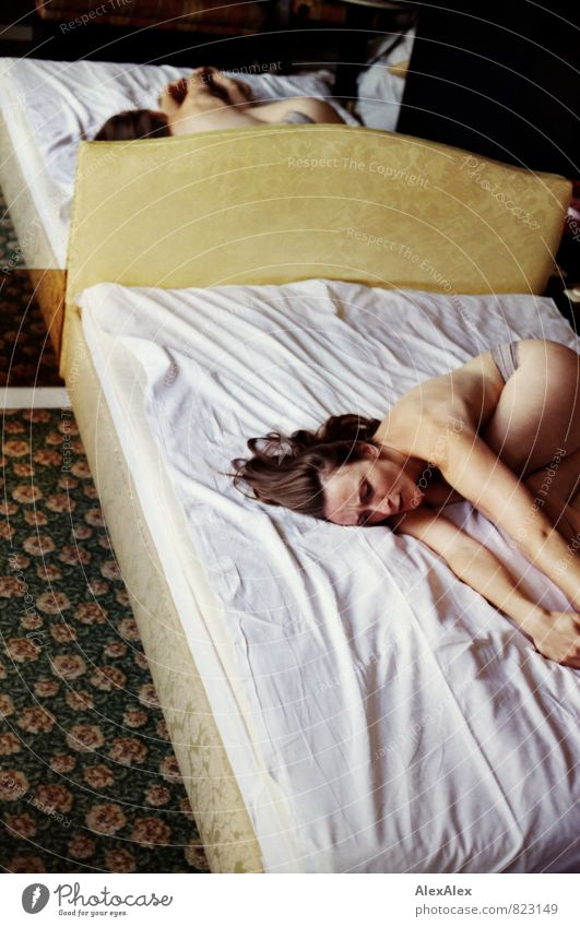 passion Hotel room Bed Mirror Young woman Youth (Young adults) Body 18 - 30 years Adults Brunette Long-haired Lie Dream Sadness Esthetic Kitsch Naked Rebellious