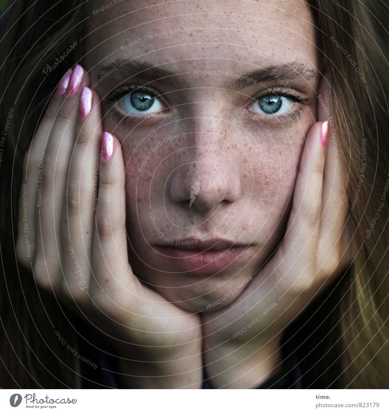 . Feminine Face Eyes Hand Fingers 1 Human being Nail polish Blonde Long-haired Observe Looking Beautiful Trust Unwavering Hope Boredom Concern Exhaustion Think