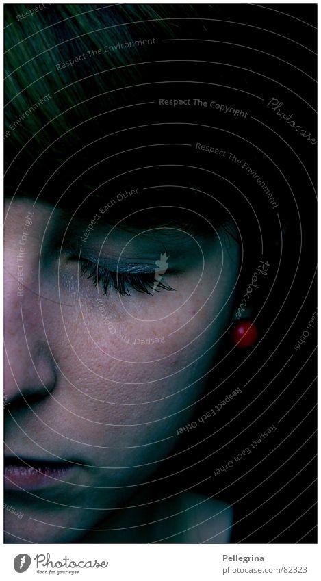 Blind in one eye Dark Night Woman Emotions Sleep Grief Black Heavy Distress Face Eyes Sadness