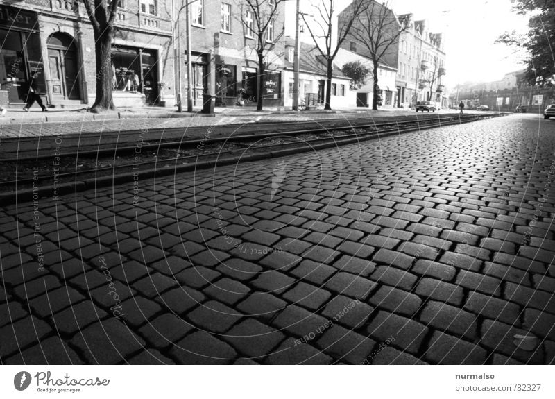 City Winter Street Stone Railroad tracks Historic Cobblestones Downtown Pavement Paving stone Set Traffic lane Potsdam Brandenburg Main street
