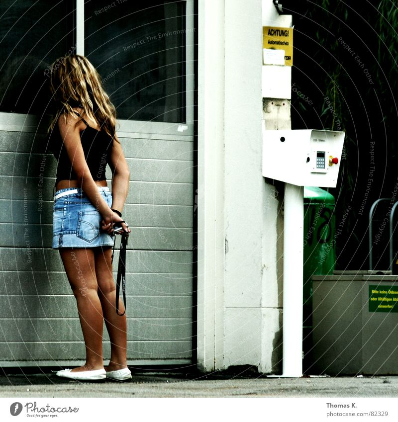 Anna Tanke Petrol station Woman Garage Mini skirt Looking Lady Blonde Observe Young woman Services wash street Gate Hair and hairstyles female human