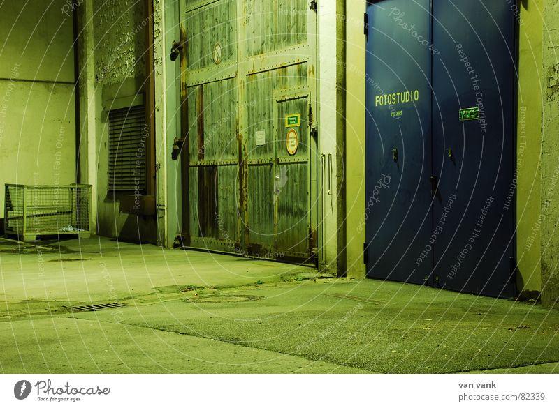 Old vs. New Doors Green Exposure Night Scrap metal Asphalt 2 Industry Gate behind closed doors Blue Evening Emotions Studio shot Snapshot