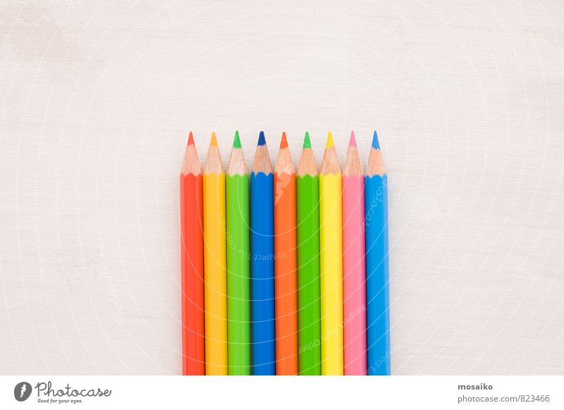 pencils School Academic studies Work and employment Profession Office work Art Pen Draw Bright Blue Yellow Green Pink Red White Colour Idea Innovative