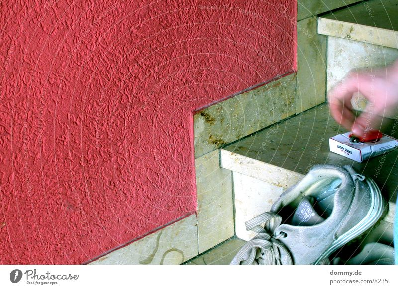 Hand Red Wall (building) Footwear Blaze Stairs Cigarette Attract Photographic technology