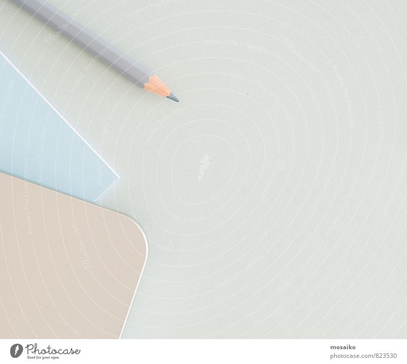 pencil on gray background Blue White Gray Line Art School Business Office Design Modern Vantage point Table Creativity Paper Copy Space Write