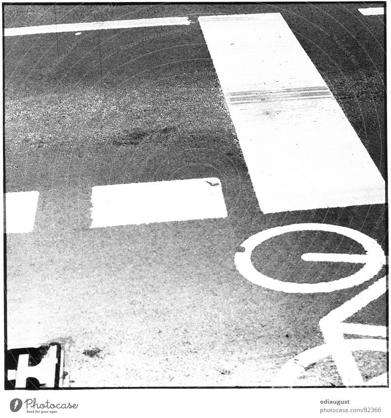 Street_1 Cycle path Asphalt Gully Traffic lane Driveway Black & white photo