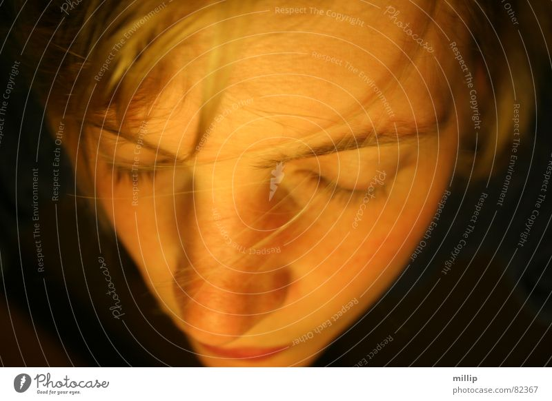 Woman Face Calm Eyes Dark Blonde Nose Concentrate Meditation