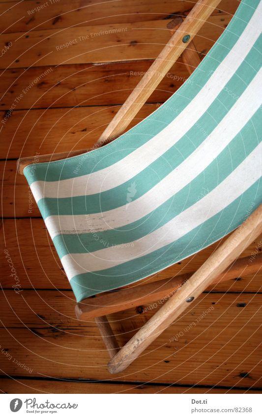 Inside cabin II Relaxation Vacation & Travel Sunbathing Furniture Chair Stripe Deckchair Striped Goof off Wooden floor floor boards sag Colour photo