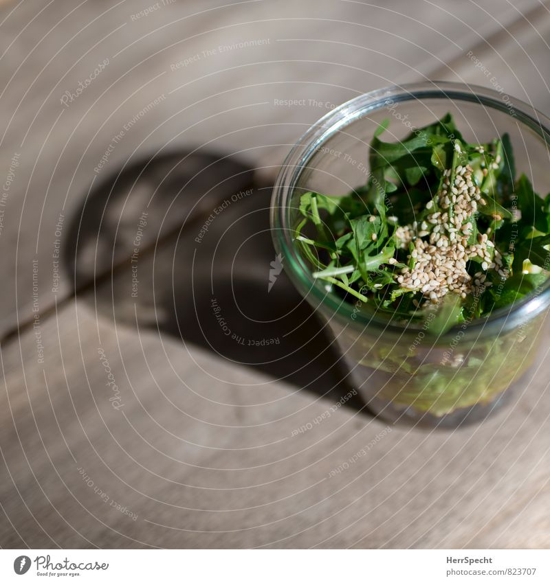 salad Food Lettuce Salad Nutrition Organic produce Vegetarian diet Slow food Glass Fresh Healthy Green Rucola Sesame Colour photo Subdued colour Close-up